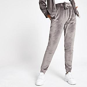Pantalons de jogging avec cordon en velours gris