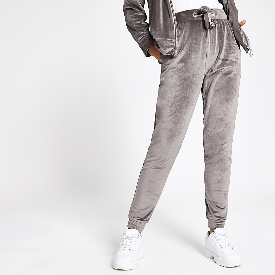 Grey velour drawstring joggers