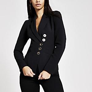 Zwarte asymmetrische blazer
