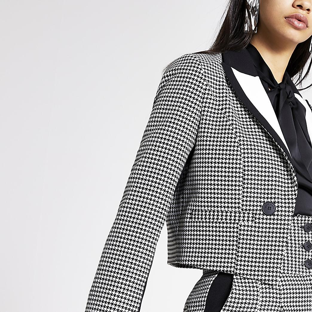 Zwarte geruite cropped blazer met pied-de-poule-motief