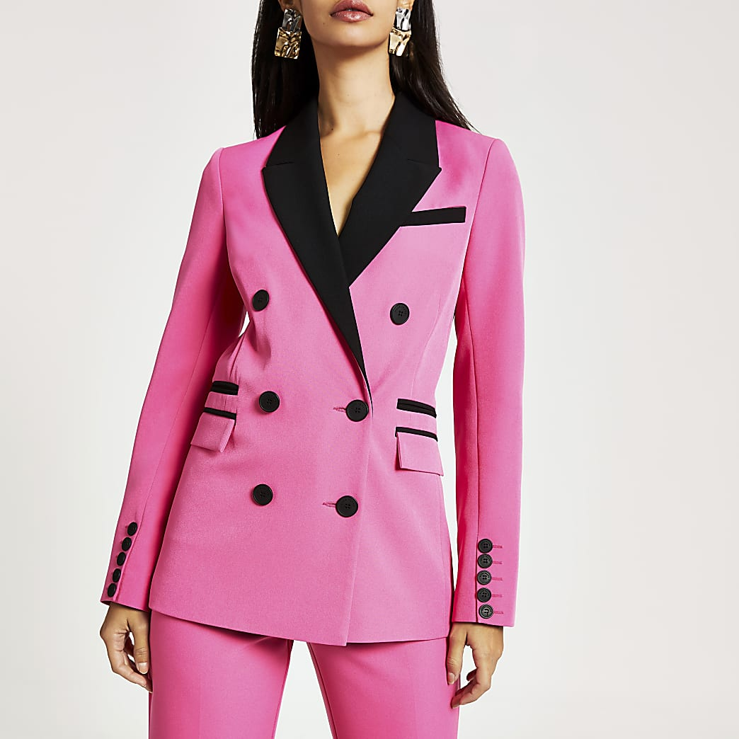 Pink colour blocked double breasted blazer