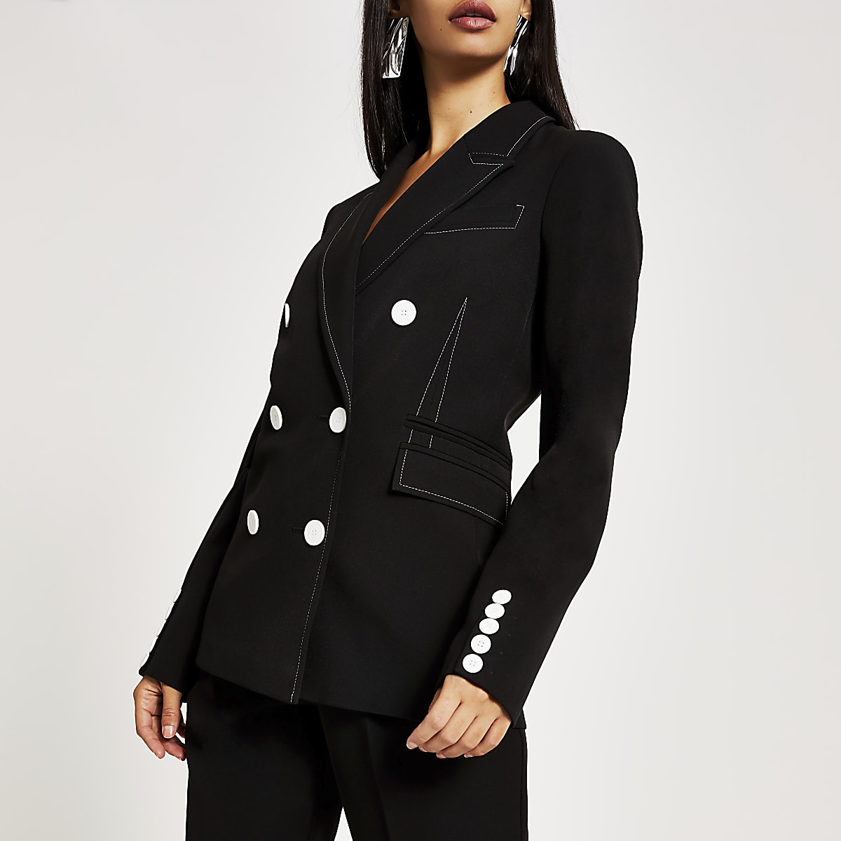 Black contrast stitch double breasted blazer