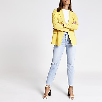 Yellow double breasted boyfriend blazer