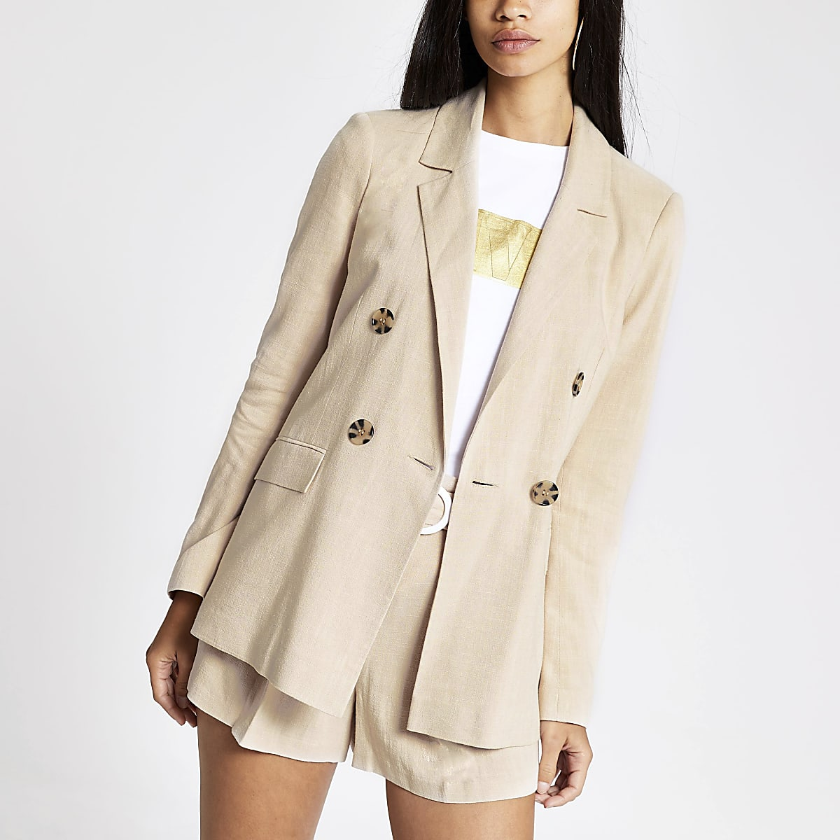 River Island Dark Cream Boyfriend Blazer