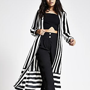 White stripe duster jacket