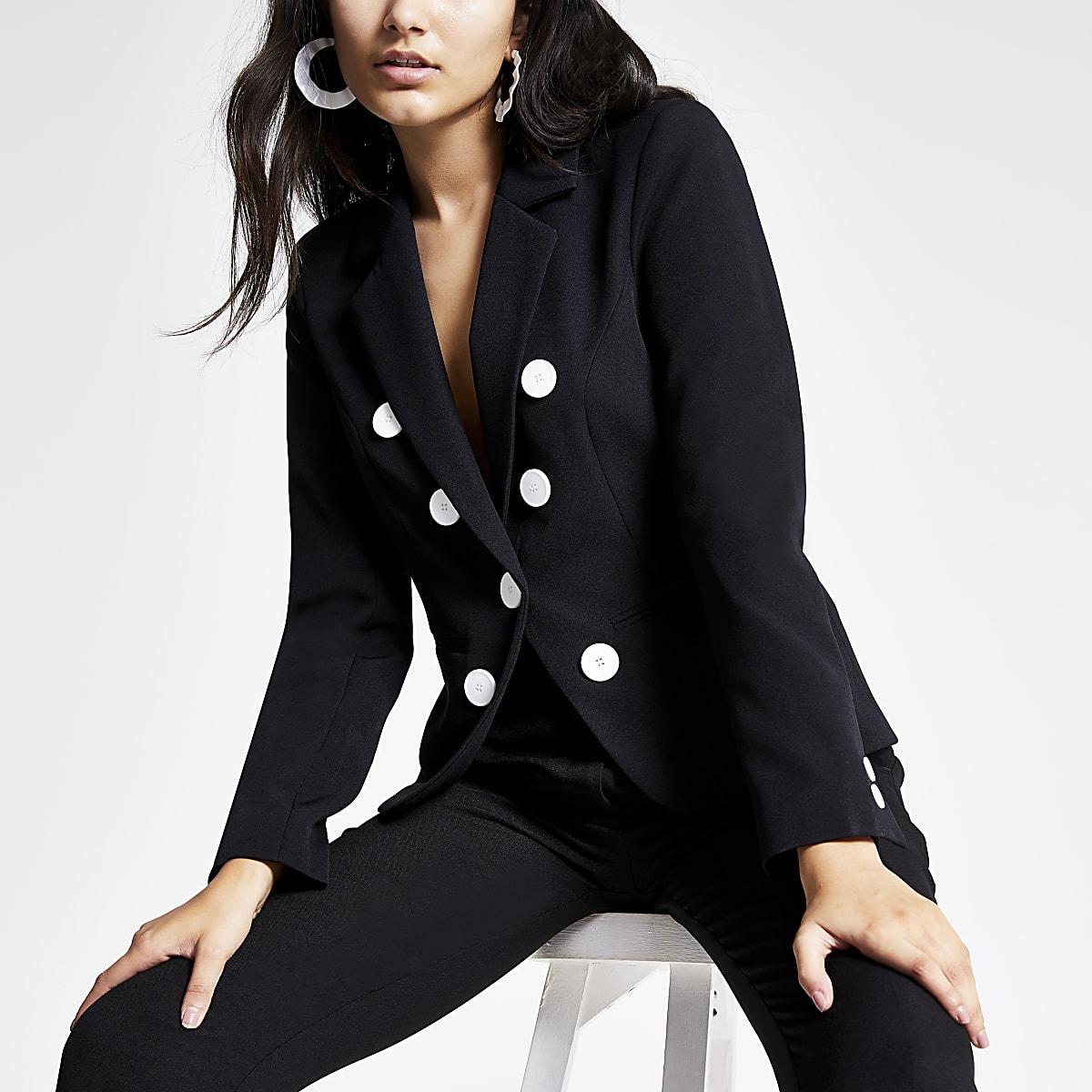 Black button front blazer