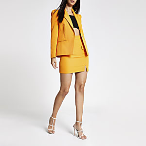 Orange puff sleeve blazer