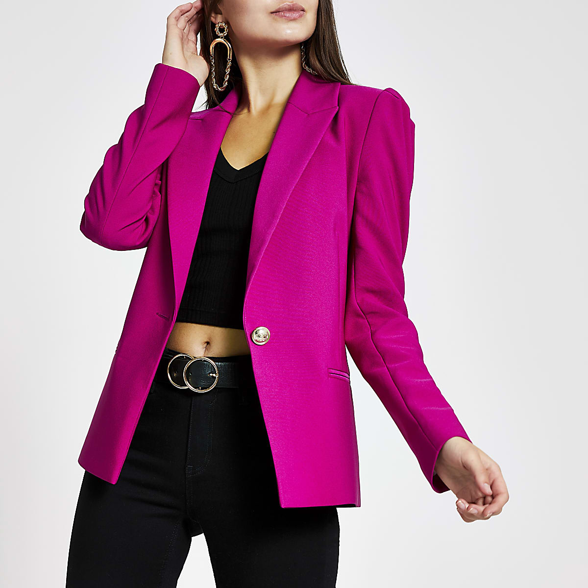 Purple puff sleeve blazer