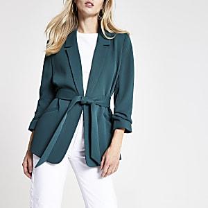 Dark green ruched sleeve belted blazer