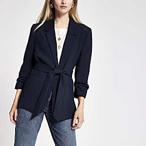 Navy ruched sleeve belted blazer