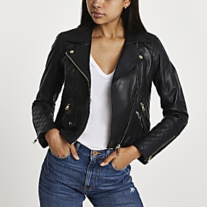 Black leather quilted biker jacket