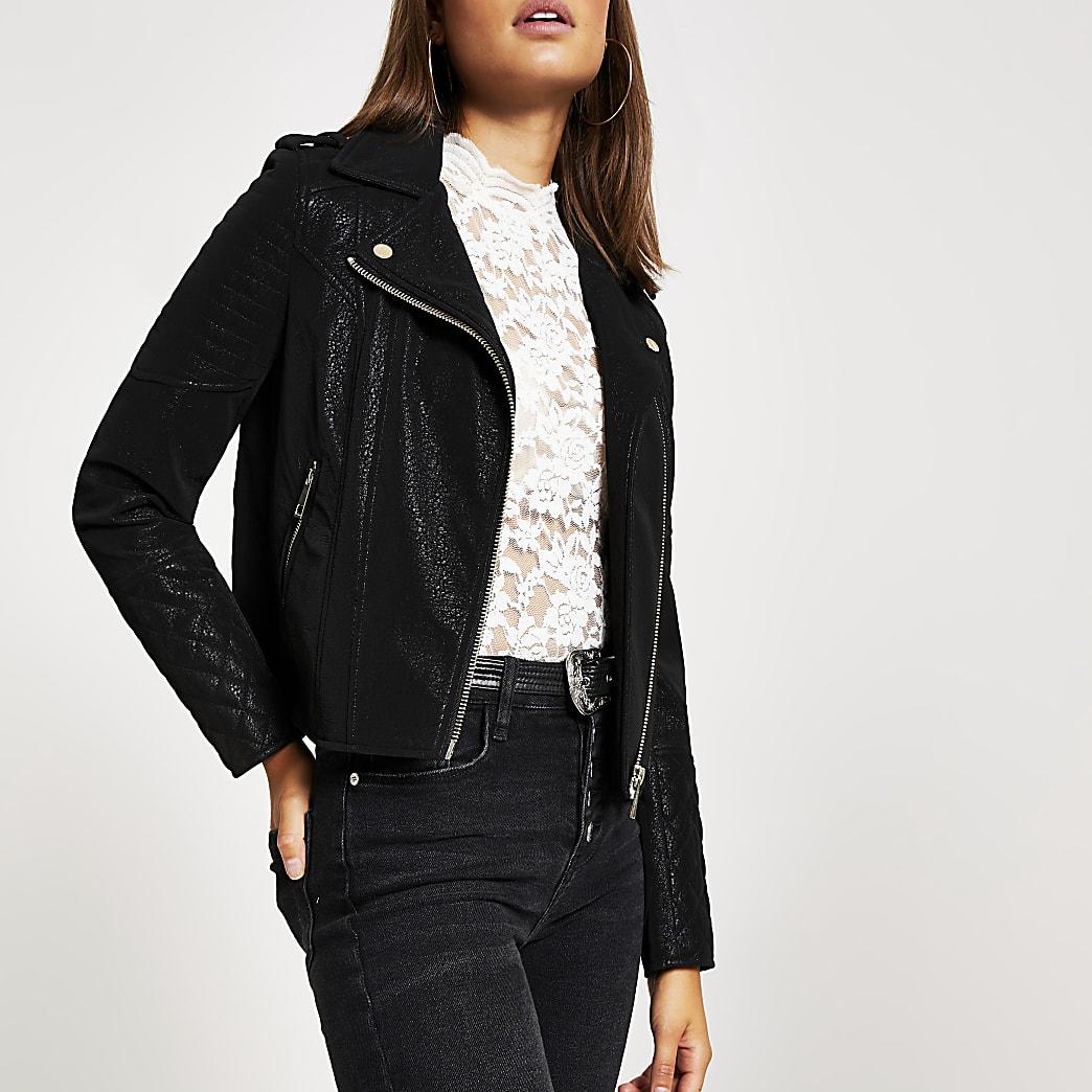 Black textured quilted biker jacket