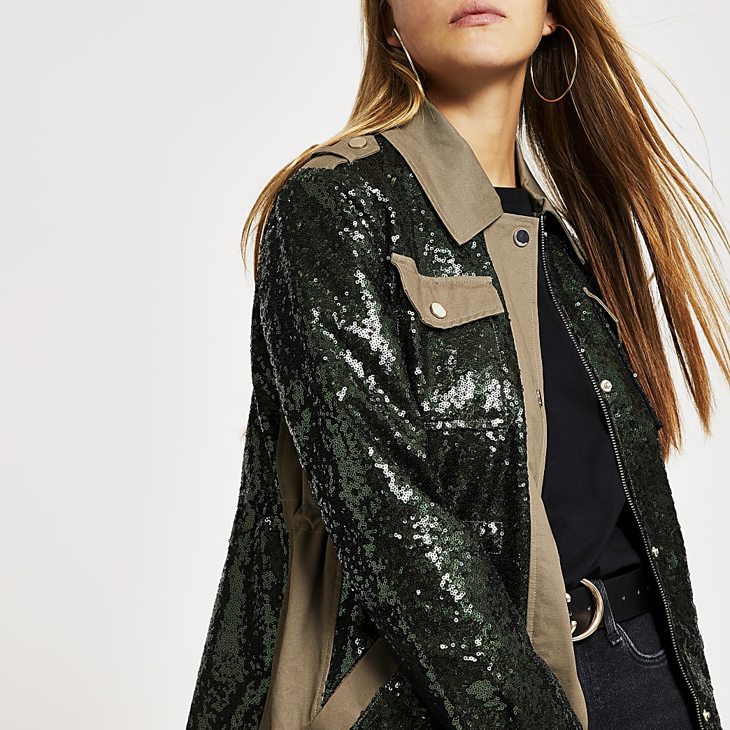 Khaki sequin embellished army jacket