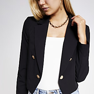 Black textured button cropped blazer