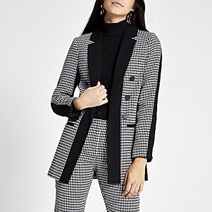Black dogtooth check print boyfriend blazer