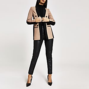 Dark beige colour blocked blazer