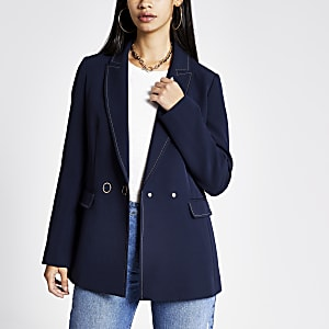 Marineblauwe double-breasted blazer met contrasterend stiksel