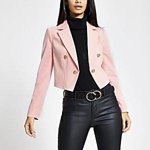 Roze cropped blazer met knopen