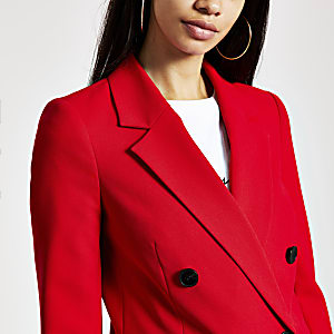 Red double-breasted boyfriend blazer