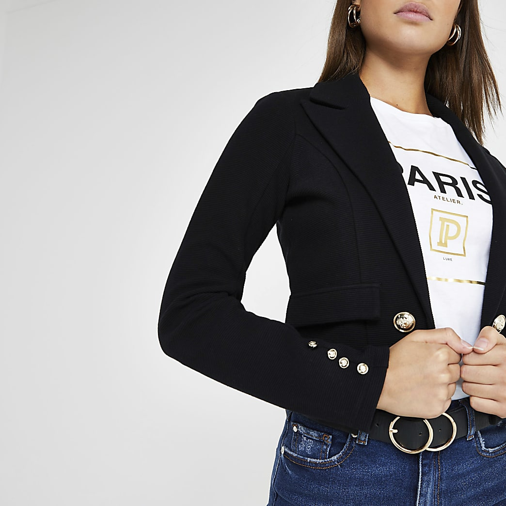 Black crop jersey blazer