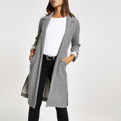 Grey textured longline duster jacket