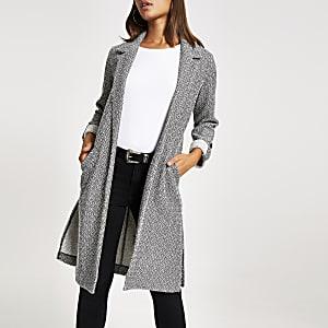 Lange, strukturierte Duster-Jacke in Grau