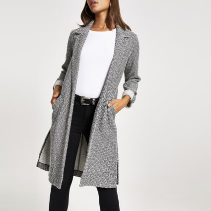 Grey textured longline duster jacket