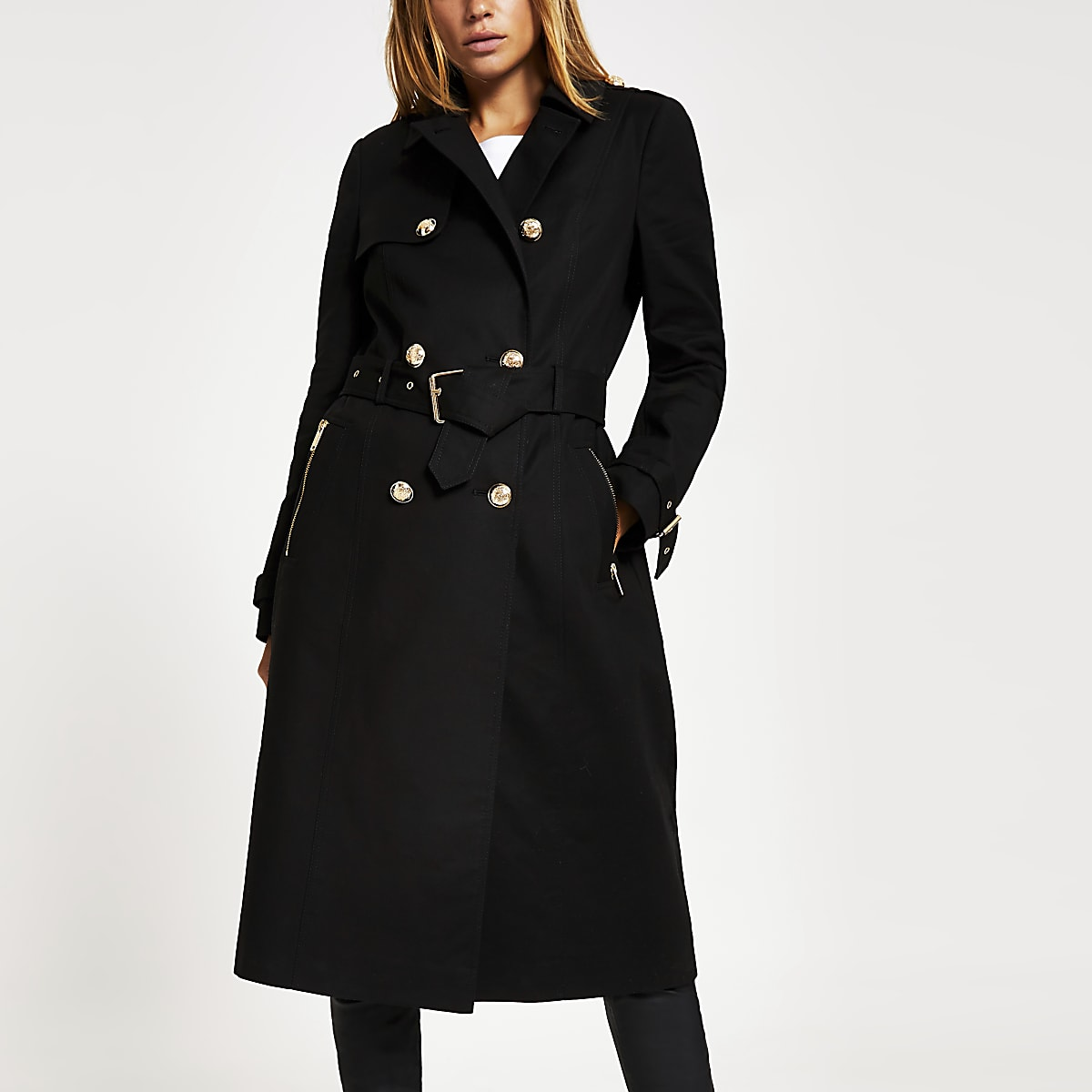 crazy price buy online new style Black double breasted belted trench coat