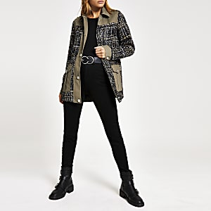 Khaki boucle embellished button army jacket