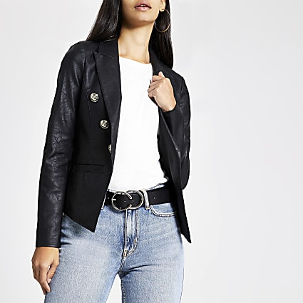 Black faux leather textured jacket