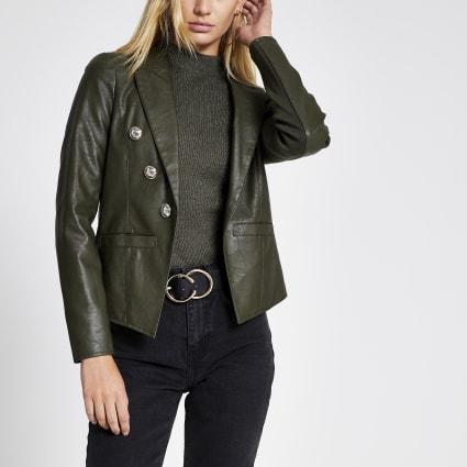 Khaki faux leather button front blazer