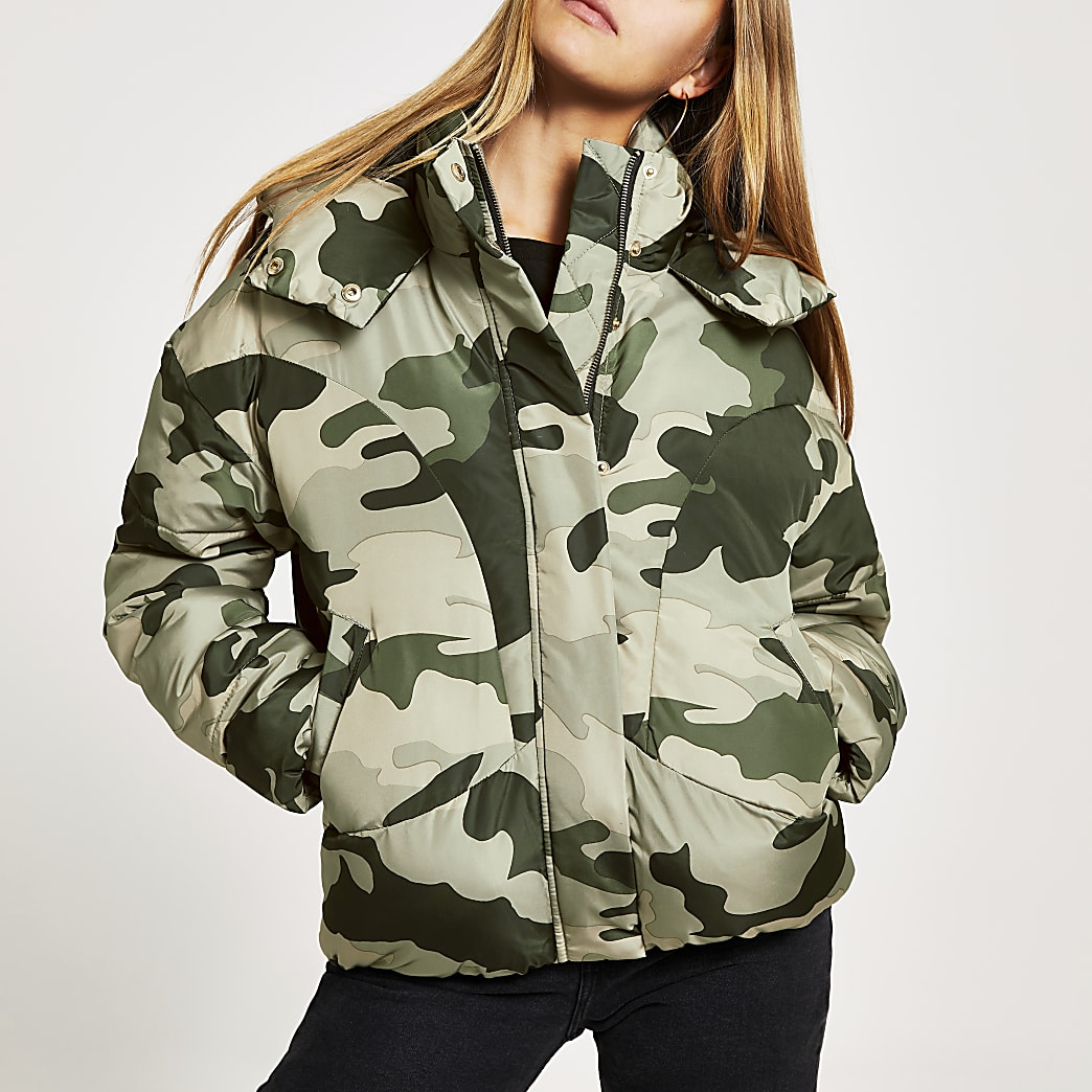Grey camo quilted puffer jacket