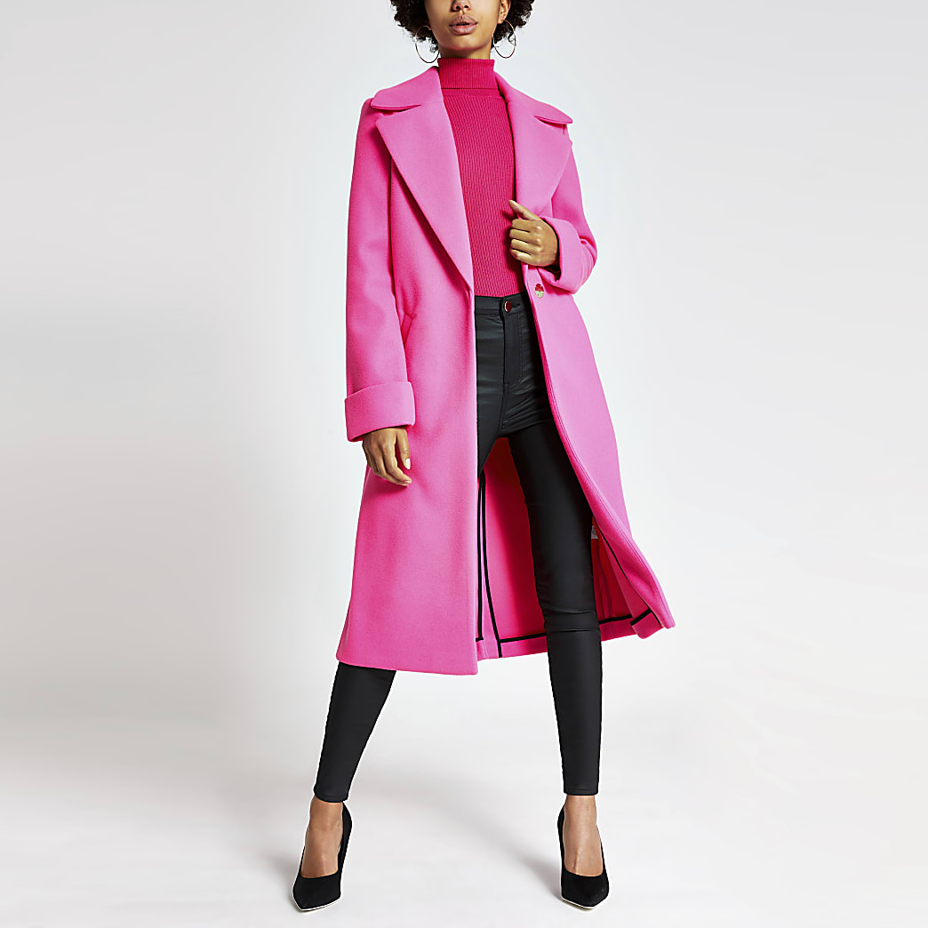 Bright pink single breasted longline coat