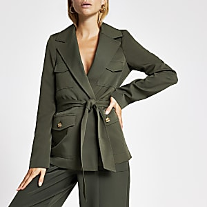 Khaki belted utility blazer