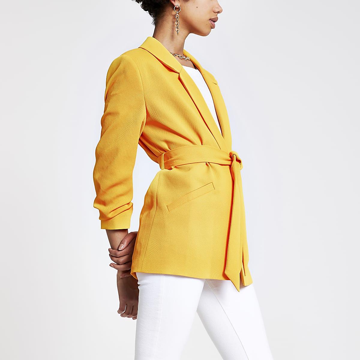 Blazer orange à ceinture