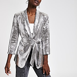 Silver sequin embellished belted jacket