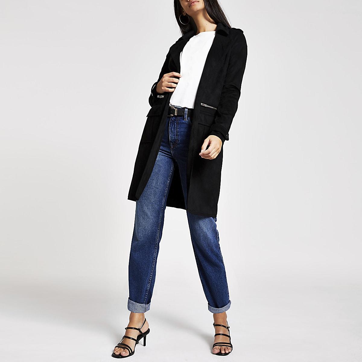 Black faux suede utility jacket
