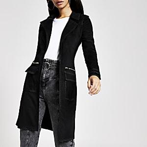 Veste en suédine noire à surpiqûres contrastantes