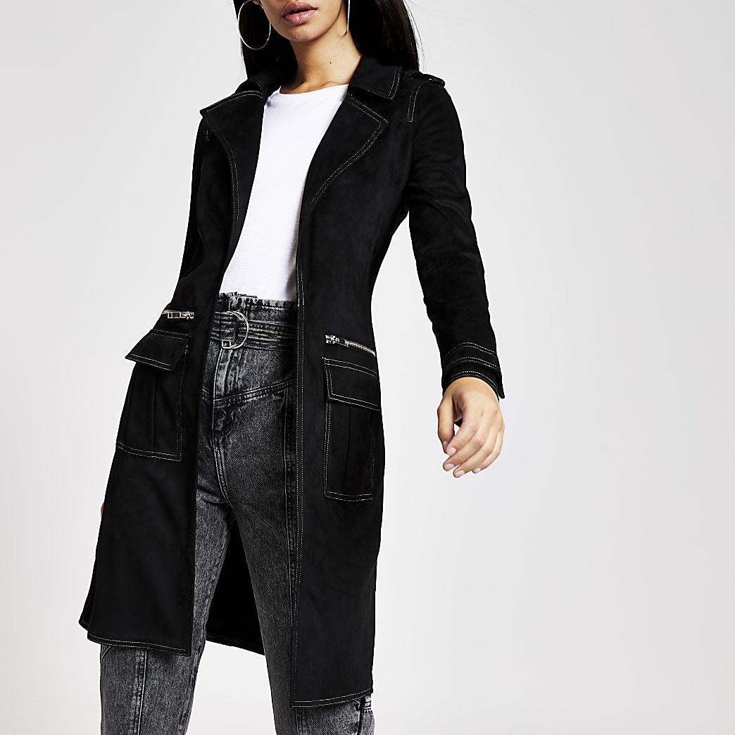 Black faux suede contrast stitch jacket