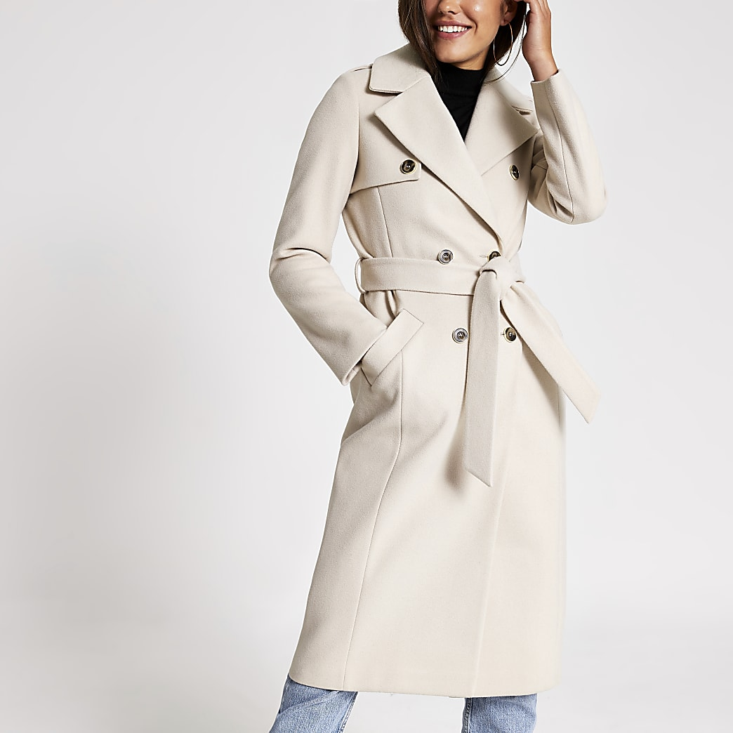 Beige double breasted knitted trench coat