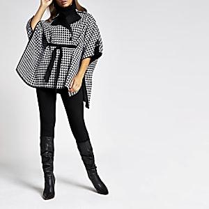 Veste cape motif pied-de-poule noire à ceinture