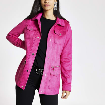 Pink faux suede utility jacket