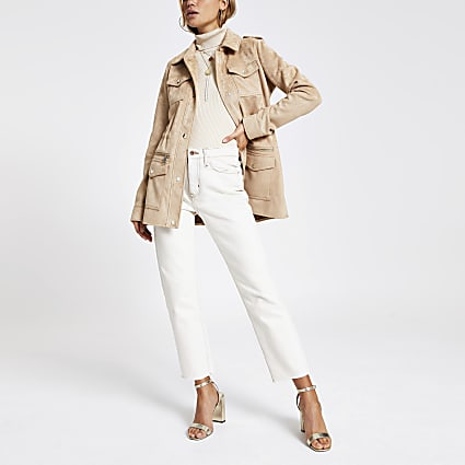 Light brown faux suede utility jacket