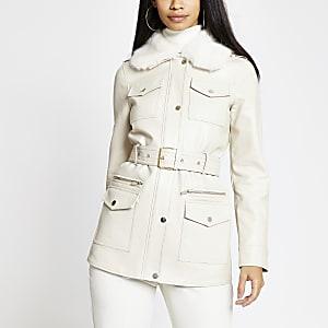 Cremefarbene Utility-Military-Jacke aus Kunstleder