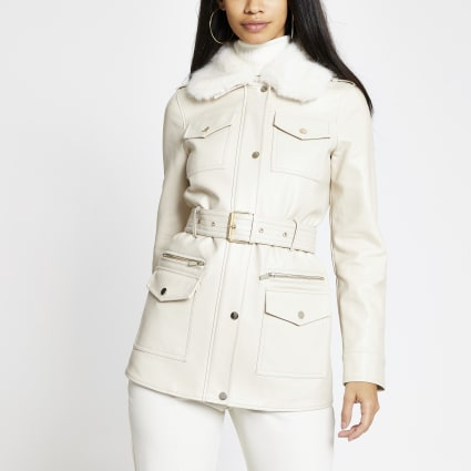 Cream faux leather utility army jacket