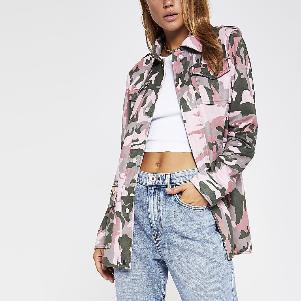 Khaki camo faux suede utility jacket