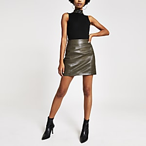 Khaki leather side zip mini skirt