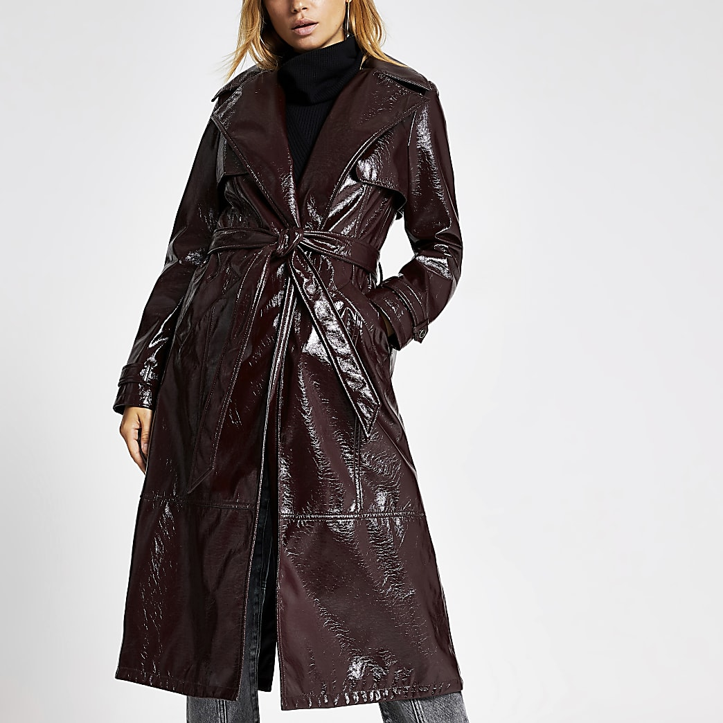 Dark purple vinyl belted trench coat