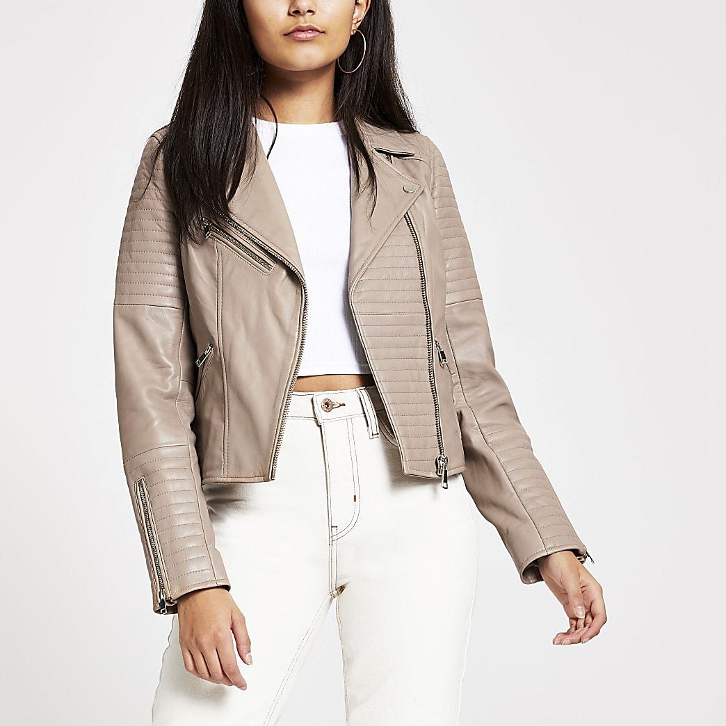 Light brown leather biker jacket
