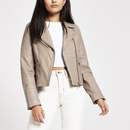 Light brown leather biker jacket